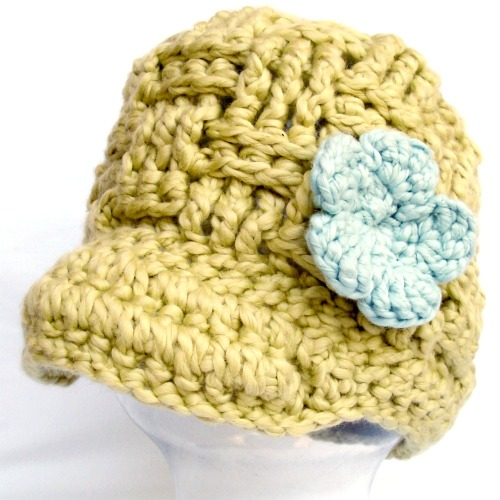 crochet baby beanie with brim